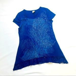 Faded Glory Blue Bright Sapphire Paisley Top